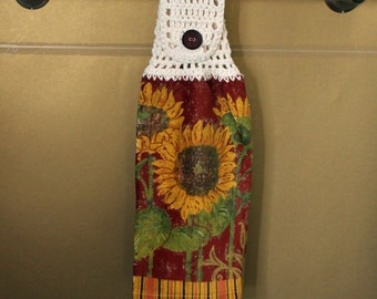 Autumn Sunflowers Crocheted Top Towel-KOE54