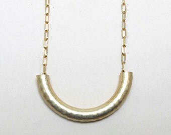 Textured brass tube necklace, macaroni necklace on gold plated chain