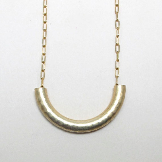 textured brass necklace macaroni necklace on gold plated