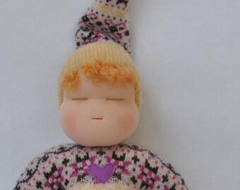Sweetheart Baby - Waldorf Doll - Purple Pink White Pattern