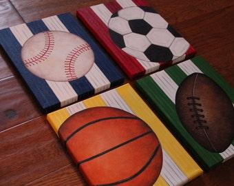 "8"" x 10"" Custom Wall Art Sports Baseball Soccer Golf Basketball Football Hockey Canvas Boys Bedding Room Decor(price per canvas)"