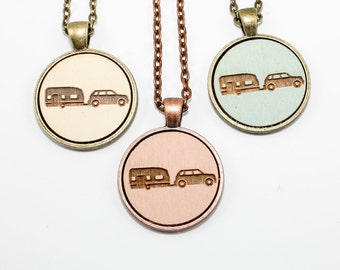Camper Pendant - Engraved Wooden Cameo (Custom Made / Personalized)