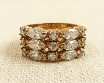 Size 5.75 Vintage 18K Goldplated Three Tiered Clear Glass Ring