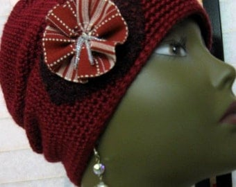 Crochet Artsy Tube Hat, Beaded Burgundy and Beige Applique Flower