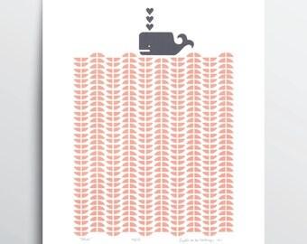 """Fine Art Print """"Whale"""" (rose blush) A3 size"""