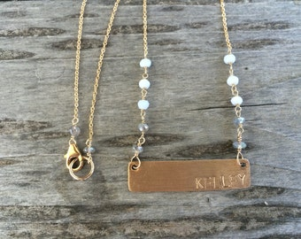 K Y O K O • personalized faceted stone name necklace