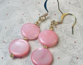 Soft Pink Mother of Pearl shell earrings in a double dangle design