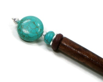 Turquoise Silver Laying Tool Sewing Stiletto Shawl Pin Hairstick