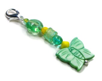 Purse Charm Purse Jewelry  Key Fob Zipper Pull Green Butterfly Yellow Beaded Scissor Fob Pocketbook Decoration