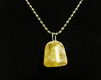 Yellow Glitter Frosted Gum Drop Necklace