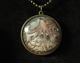 Octopus Sea Life Cameo Necklace