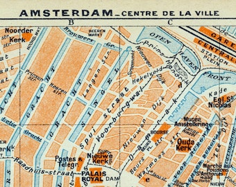 1938 Vintage Map of Amsterdam - Antique Map of Central Amsterdam - Old Amsterdam Map