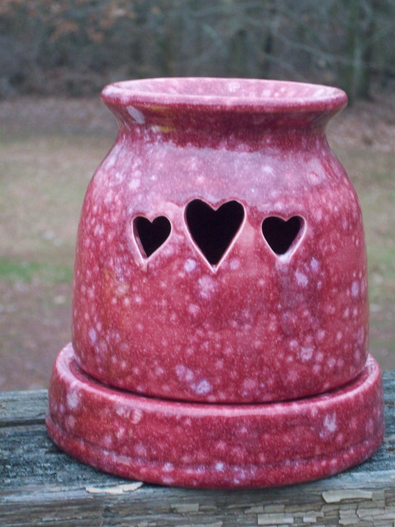 Ceramic Country Hearts Wax Candle Tart Warmer Handmade - Cranberry