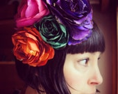 Circus festival flower headpiece recycled vintage antique satin and silk fascinator christmas/nye party wear