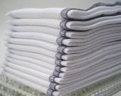 Unpaper Towels Gray Bordered  - Eco Friendly Reusable Birds Eye Cotton - One Dozen Grey Washable Cloth Un Paper Wipes