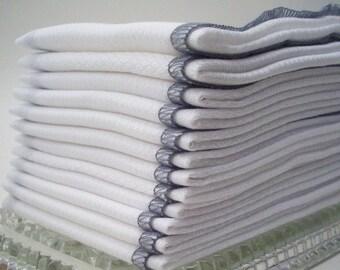 Birdseye Cotton Unpaper Towels Gray Bordered  -  Reusable Birds Eye Cotton Kitchen Towel - House Warming Gift - Eco Friendly Wedding Present