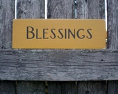 Small Primitive Wood Sign- Blessings in Mustard Yellow and Black