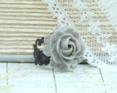 Gray Rose Ring Fashion Ring Gray Flower Ring Adjustable Ring Gray Rose Jewelry Gothic Ring Floral Ring