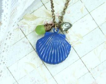 Shell Necklace Locket Jewelry Sea Glass Necklace Seashell Jewelry Locket Necklace Beach Jewelry Nautical Necklace