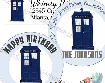 Dr. Who address labels, Tardis Stickers, Choice of sizes