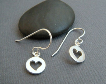 tiny sterling silver heart earrings leverback lever back dangles cut out hearts everyday jewelry small drop simple gift for her. mothers day