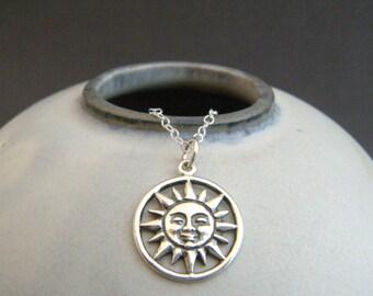 silver sun necklace. small smiling sunburst pendant. sterling silver sunbeam charm sunshine solar boho bohemian jewelry rustic yoga everyday