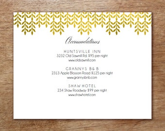 Wedding Information Card - Enclosure Card Template - Glamorous Gold - Gold Effect Info Card