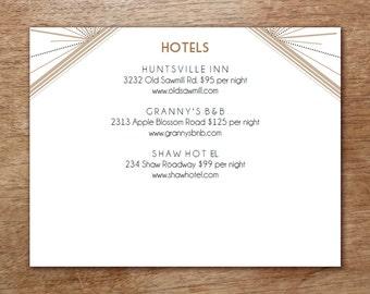 Enclosure Card Template - Deco - Gatsby Wedding Information Card - Art Deco Wedding Card