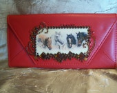 SALE.....Wallet Hand Embellished Red Faux Leather with Vintage Horse Pals Scene and Crystals