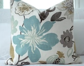 NEW-KRAVET JELLYBEAN-- Decorative Designer Pillow Cover - Turquoise/Aqua/Seafoam/Ivory and Neutrals