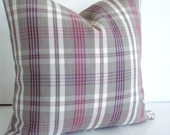 HERRINGBONE PLAID - Both Sides -Decorative Designer pillow Cover- Braemore BAYSIDE-Fuschia-Purple-Ivory-Grey Throw /Lumbar Pillow