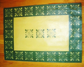 Free Ship: UMBRIA Painted Canvas Floorcloth Rug - Green & Gold,