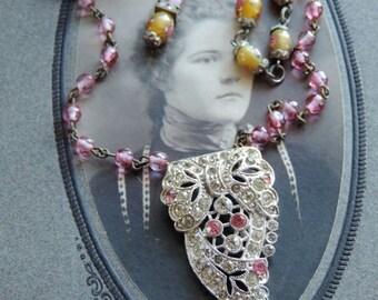 Vintage Pink Rhinestone Dress Clip Necklace  Antique and Vintage Assemblage