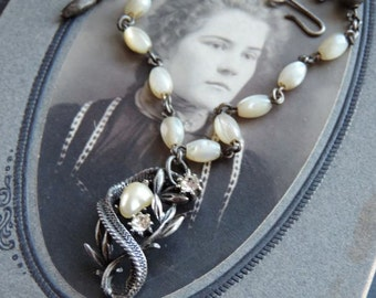 Vintage Assemblage Necklace  Mother of Pearl Beads Rhinestones ~Evening Shadows