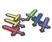 Minecraft Inspired Party Favors - Minecraft Decoration - Set of 6 8 bit Rainbow Swords