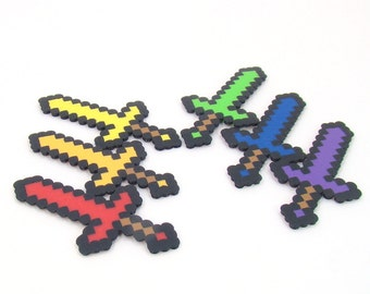 Minecraft Inspired Party Favors - Minecraft Decoration - Set of 6 8 bit Rainbow Swords