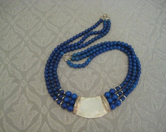 Vintage Triple 3 Strand Statement Lapis Beads Necklace