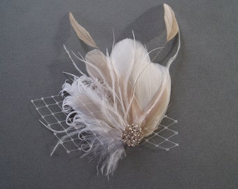 Ivory Wedding Hair Clip Bridal Hair Piece Accessory Feather Fascinator Bridal Headpiece hair clip, Ivory champagne white READY TO SHIP