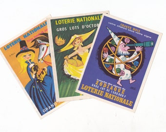 Vintage French Lottery Flyers / Mini Posters Great Design & Colour! 1960's (C)