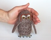 "Owl 5"",  Needle Felted Miniature, Soft Sculpture, OOAK, wool, brown, gray"