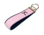 Personalized Custom Embroidered Keychain Keyfob - Preppy Pink Seersucker on Navy Blue - Choice of Initial 3 Letter Monogram or Name