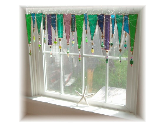 Party for your window stained glass window treatment kitchen for Stained glass kitchen windows