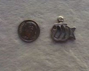 Small Pewter Casting Fish Charm  (set of 6)