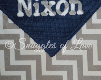 Personalized Gray Chevron Blanket - Grey Chevron Minky Blanket - YOUR CHOICE of COLORS - Gray Chevron Minky Baby Blanket