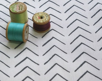 chevron -  stone screenprinted fabric panel, linen or cotton basecloth