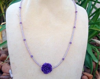 Purple Beaded Necklace// Purple Flower Necklace// Layering Necklace// Bridesmaid Jewelry