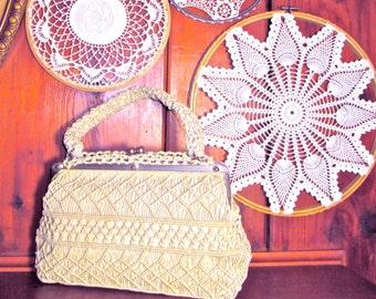 Crochet Handbag Vintage 50's /Purse/Women's Accessories Handbag/ Cream Colored /Classic/Bohemian Style/Like New VintageK