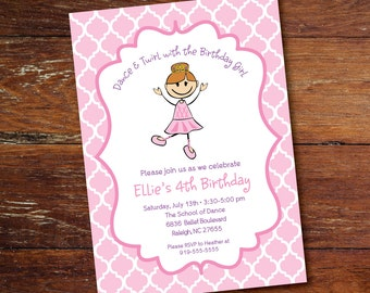 Dance, ballet princess party invitation (custom), printable file