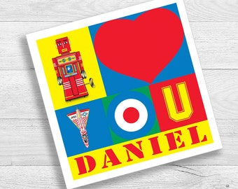 Personalised Tin Toy Art I Love You Card
