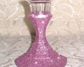 Glitter Glass Candle Holders Wedding Bridal Hand Glittered Candy Pink Candlesticks Wedding Decorations Table Decor Home Decor Custom Order